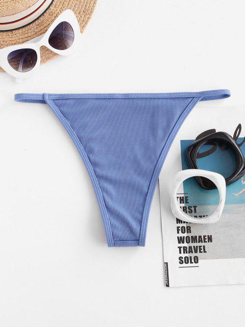 sale ZAFUL Ribbed High Leg Plain Bikini Bottom - LIGHT BLUE S Mobile