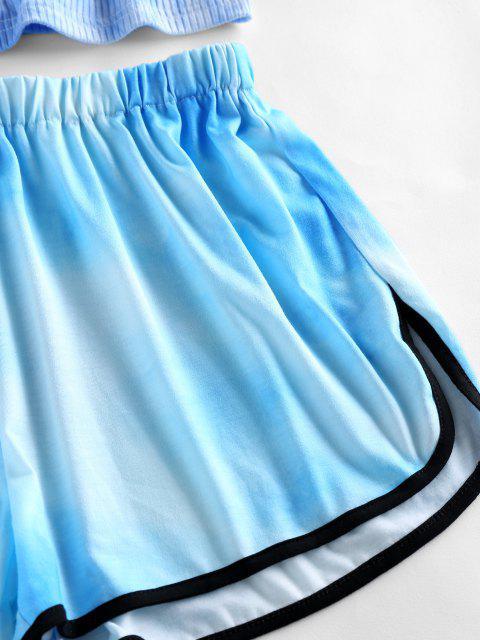 ZAFUL Conjunto de Calções de Banho com Nervuras de Tie-Dye - Azul claro S Mobile