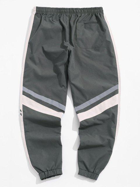 Pantalones Jogger en Contraste con Bordado de Letras - Jet Gris M Mobile