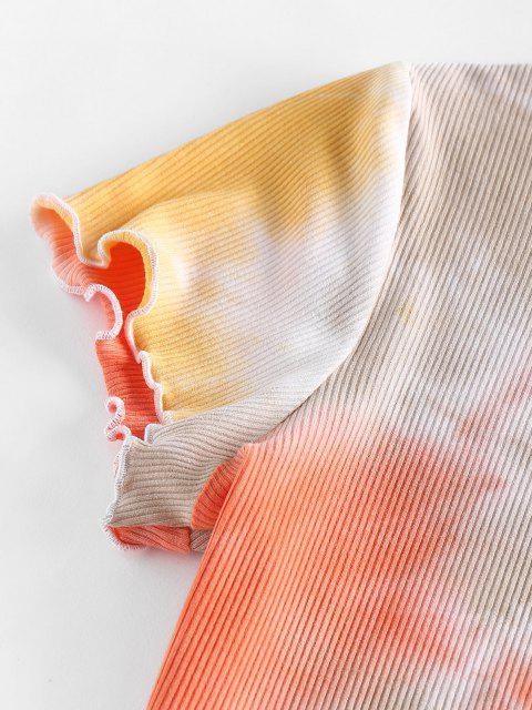 fashion ZAFUL Lettuce Trim Tie Dye Two Piece Set - LIGHT ORANGE L Mobile
