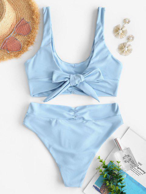 trendy ZAFUL Back Knot Surplice Waist Ruched Tankini Swimwear - LIGHT BLUE S Mobile