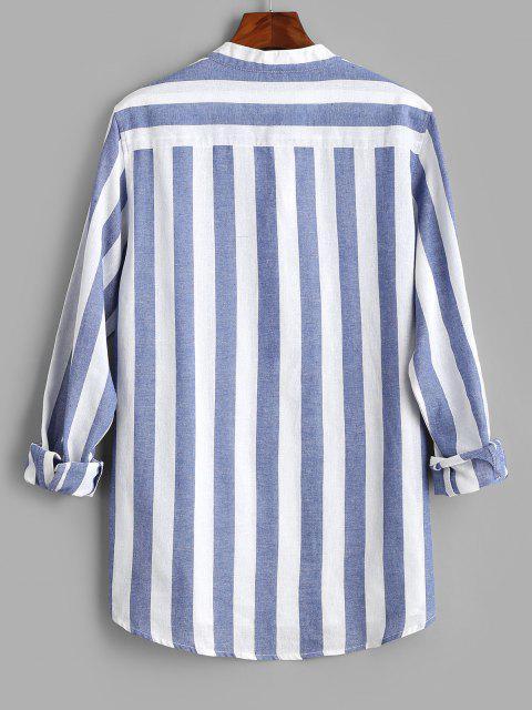 Color Blocking Stripes Half Button Shirt - أزرق XL Mobile