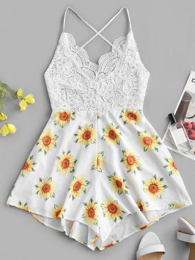 Cami Criss Cross Sunflower Lace Panel Romper - White S
