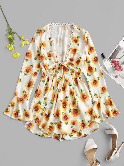 Sunflower Tie Front Crochet Trim Romper - White M