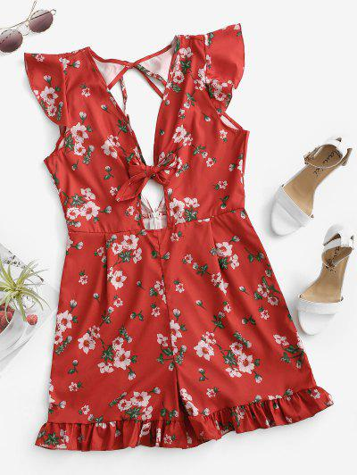 Knotted Tie Back Floral Ruffles Romper - Red M