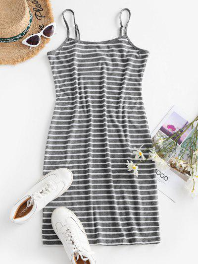 Striped Ribbed Bodycon Cami Dress - Dark Gray L