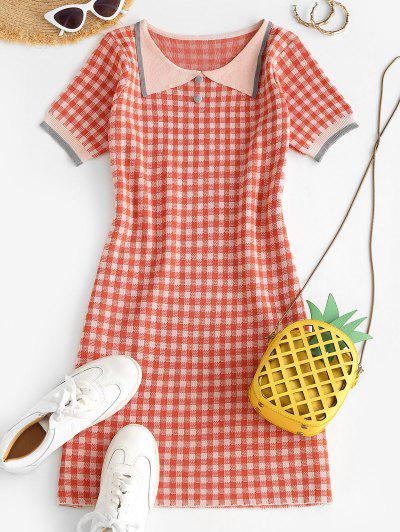 Plaid Flat Collar Knitted Dress - Red