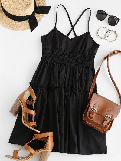 Crisscross Shirred Smock Dress - Black L