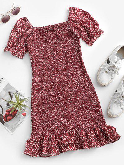 Ditsy Floral Smocked Ruffles Hem Mini Dress - Deep Red S