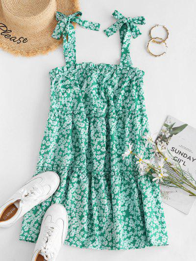 Tie Ditsy Print Tiered Trapeze Sundress - Green M