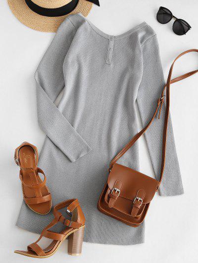 Mini-Robe Courte En Maille Moulante à Bouton-Pression - Gris