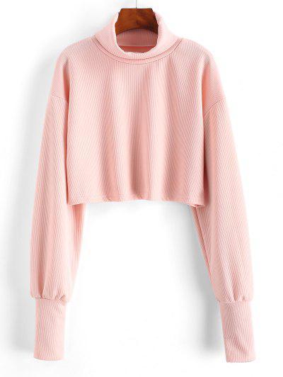 Camiseta Recortada Acanalada Cuello Tortuga - Rosa Claro L