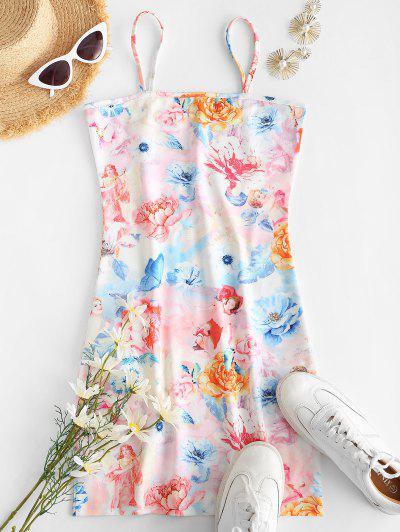 Floral Angel Print Cami Mini Dress - Light Pink L