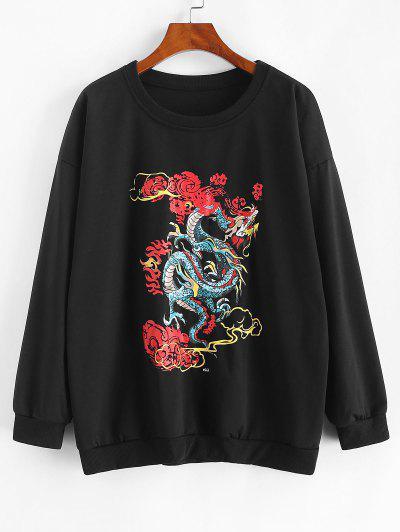 Dragon Graphic Oriental Sweatshirt - Black M