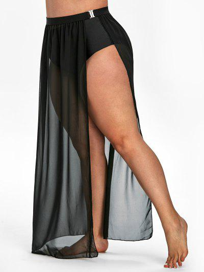 Plus Size Slit Buckle Cover Up Skirt - Black 4x