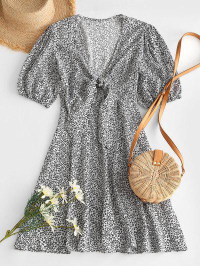 Ditsy Print Knot Puff Sleeve Tea Dress - Black L