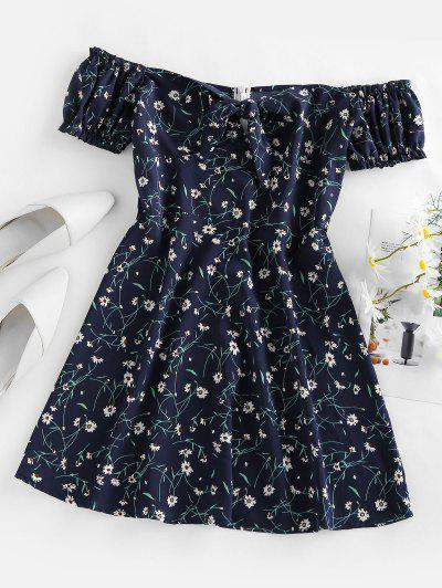 ZAFUL Floral Tied Ruffle Off Shoulder Mini Dress - Deep Blue S