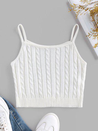 ZAFUL Cable Knit Rib Hem Crop Cami Top - White M