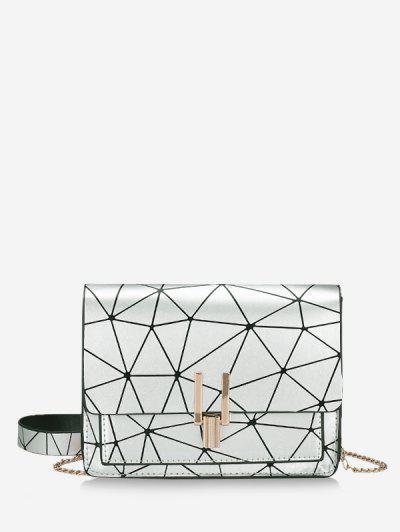 Bolsa De Cadeia Geométrica De Impressão - Prata
