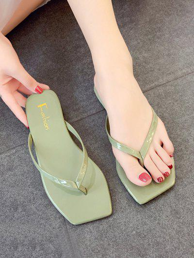 Candy Color Square Toe Leather Flip Flops - Green Eu 38