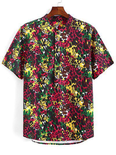 Camisa Leopardo Impresso Metade Botão Colorida - Vermelho Escuro S