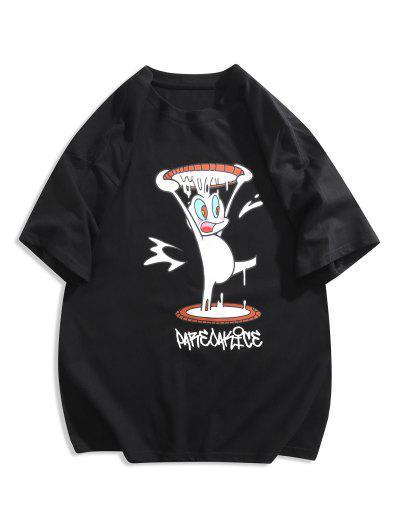 Funny Cartoon Print Graphic T-shirt - Black 2xl