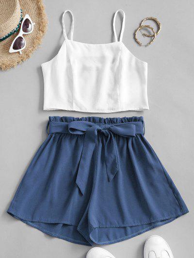 ZAFUL Belted Smocked Back Paperbag Shorts Set - Blue Xl