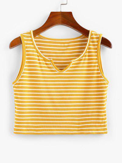 ZAFUL Ribbed Striped V Notch Crop Tank Top - Yellow S