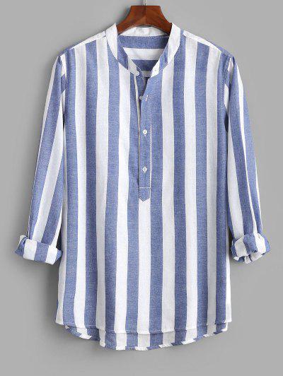 Camisa A Rayas Con Media Botón De Color Bloque - Azul 2xl