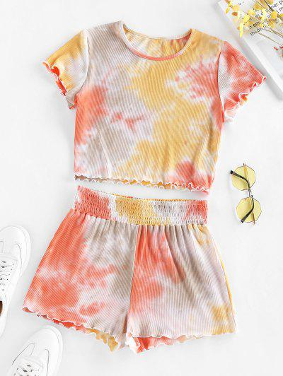 ZAFUL Lettuce Trim Tie Dye Two Piece Set - Light Orange M
