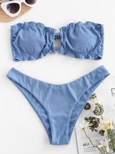 ZAFUL Ribbed Ruffle Cutout Bandeau Bikini Swimwear - Blue S