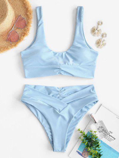 ZAFUL Back Knot Surplice Waist Ruched Tankini Swimwear - Light Blue S