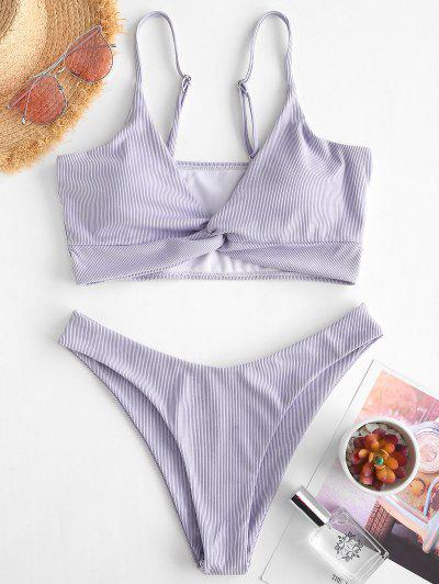 ZAFUL Ribbed Twisted High Leg Tankini Swimwear - Light Purple S