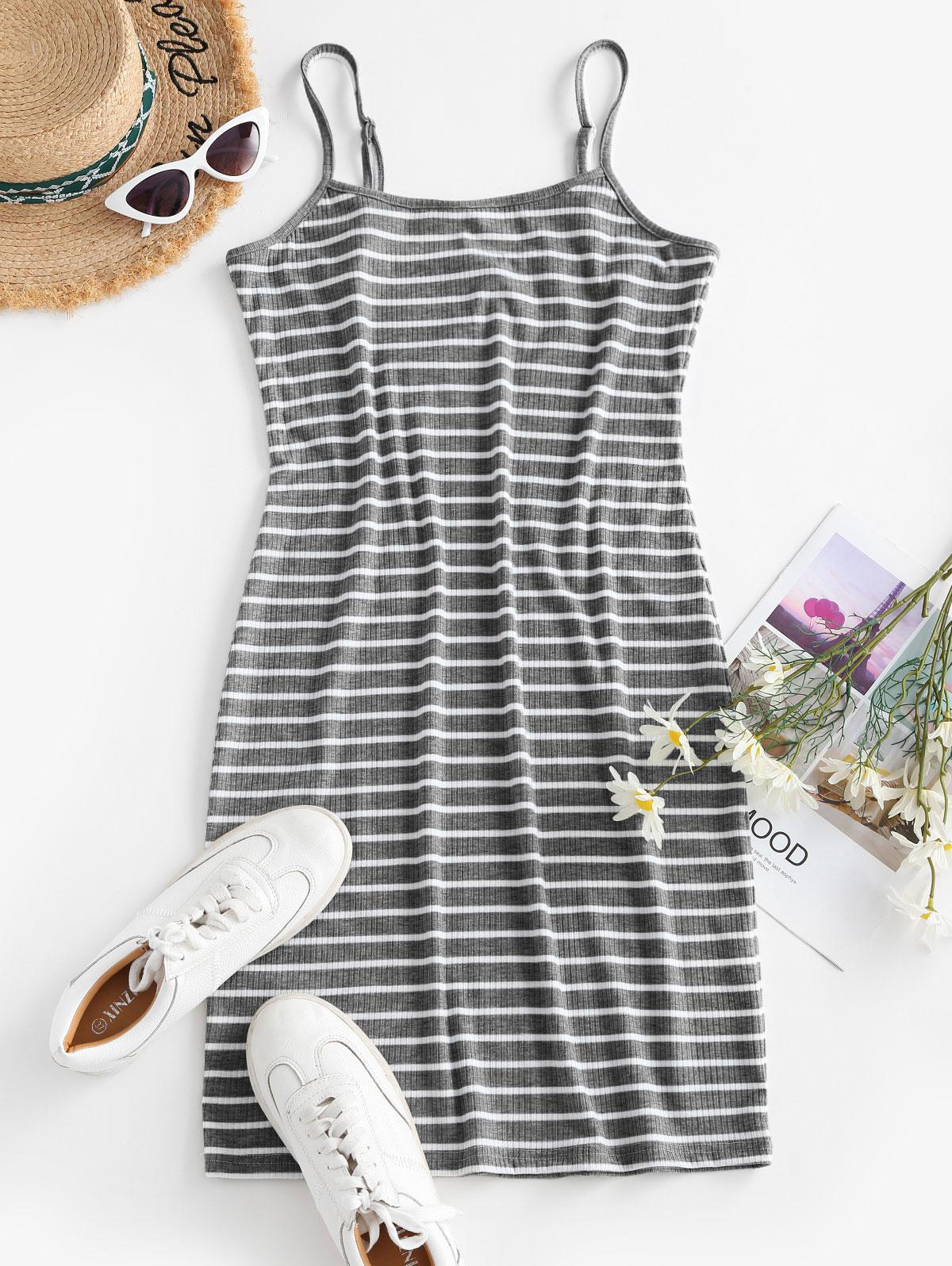 Striped Ribbed Bodycon Cami Dress