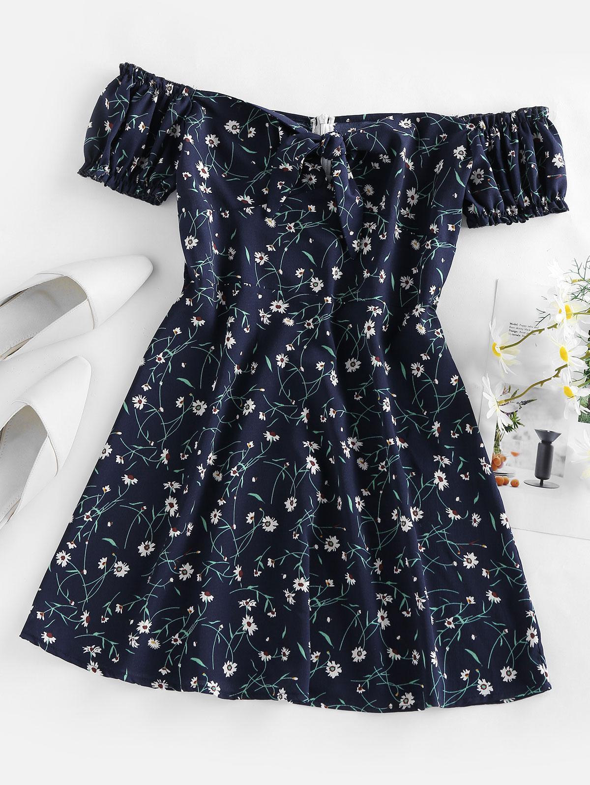 ZAFUL Floral Tied Ruffle Off Shoulder Mini Dress