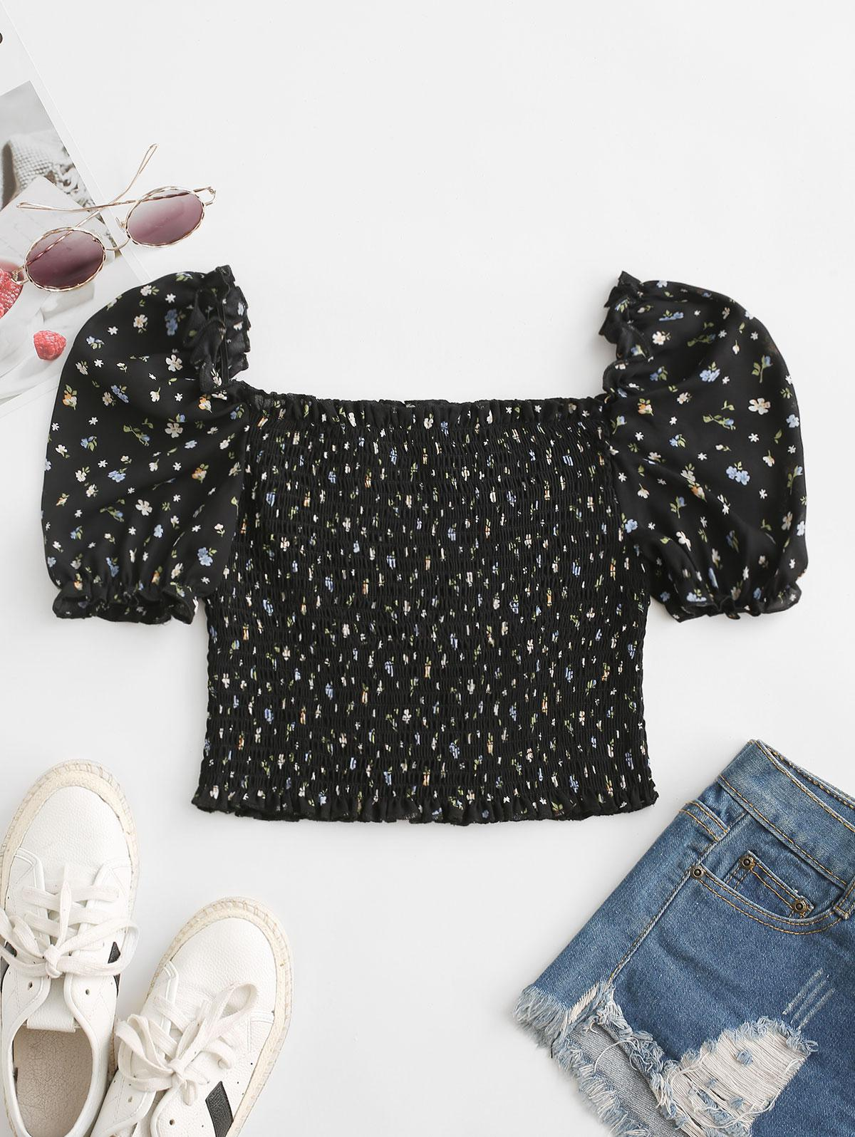 Smocked Ditsy Floral Puff Sleeve Blouse