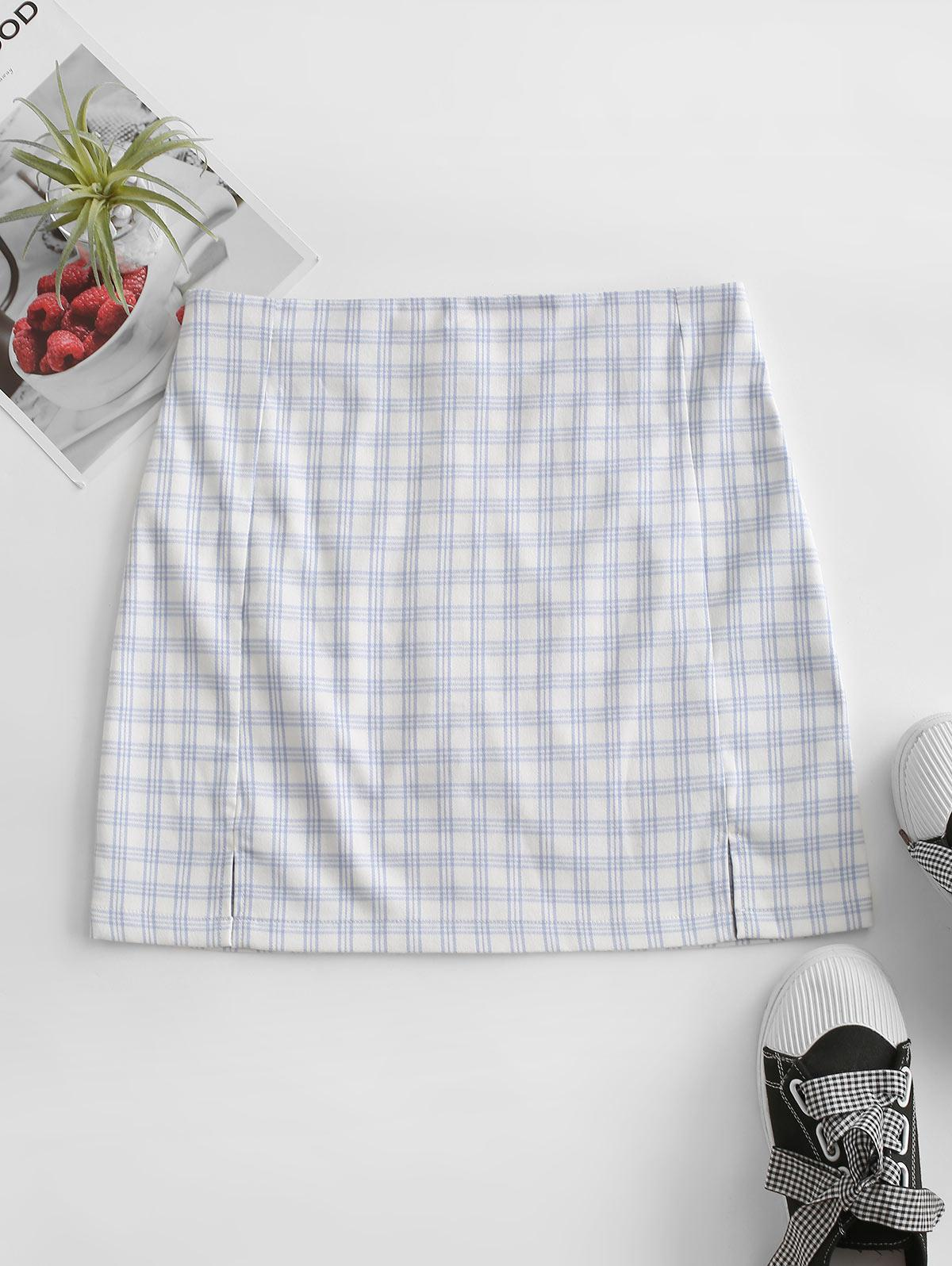 Back Zipper Plaid Slit Mini Skirt