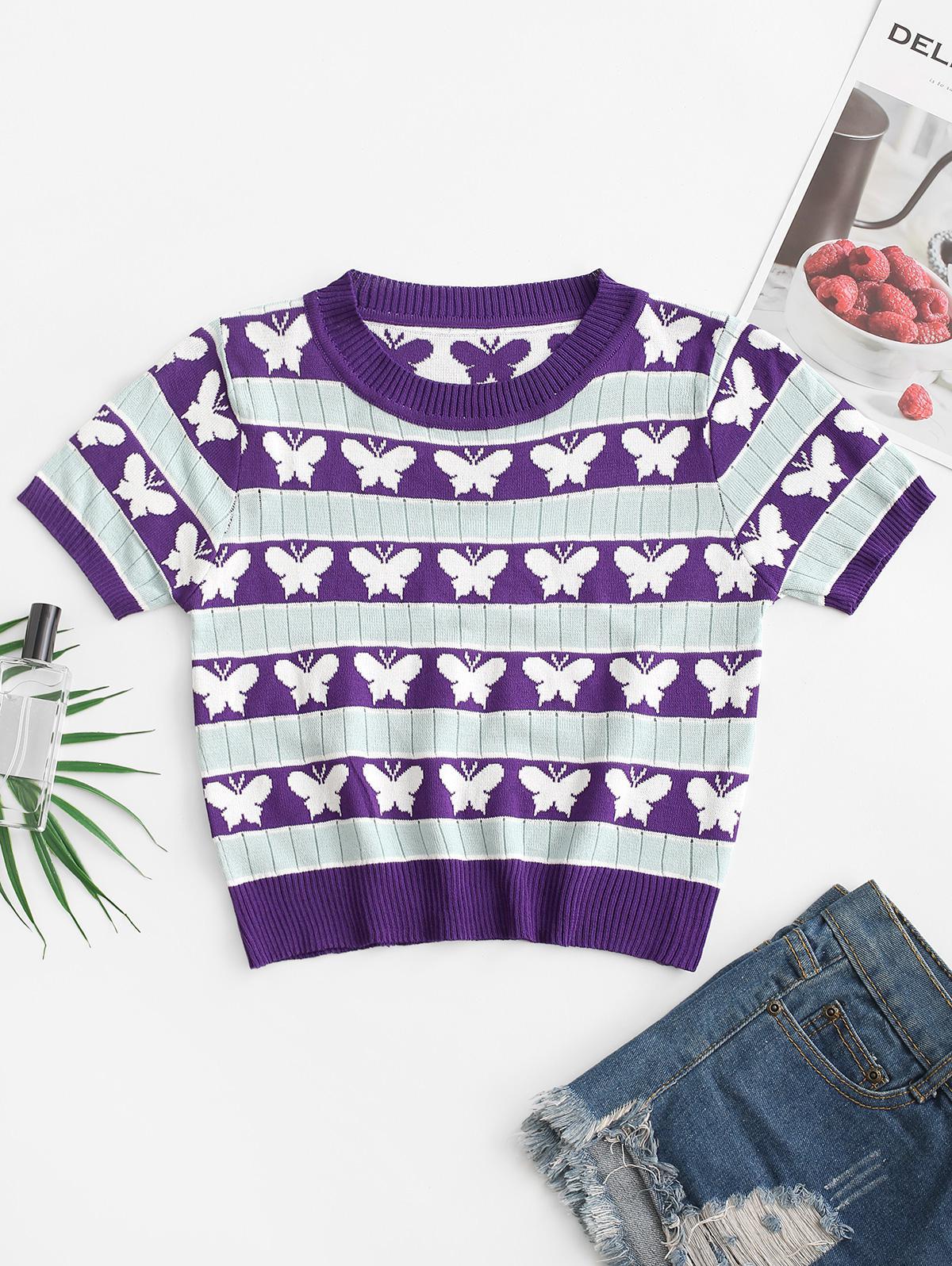 Pointelle Knit Butterfly Stripes Knitwear