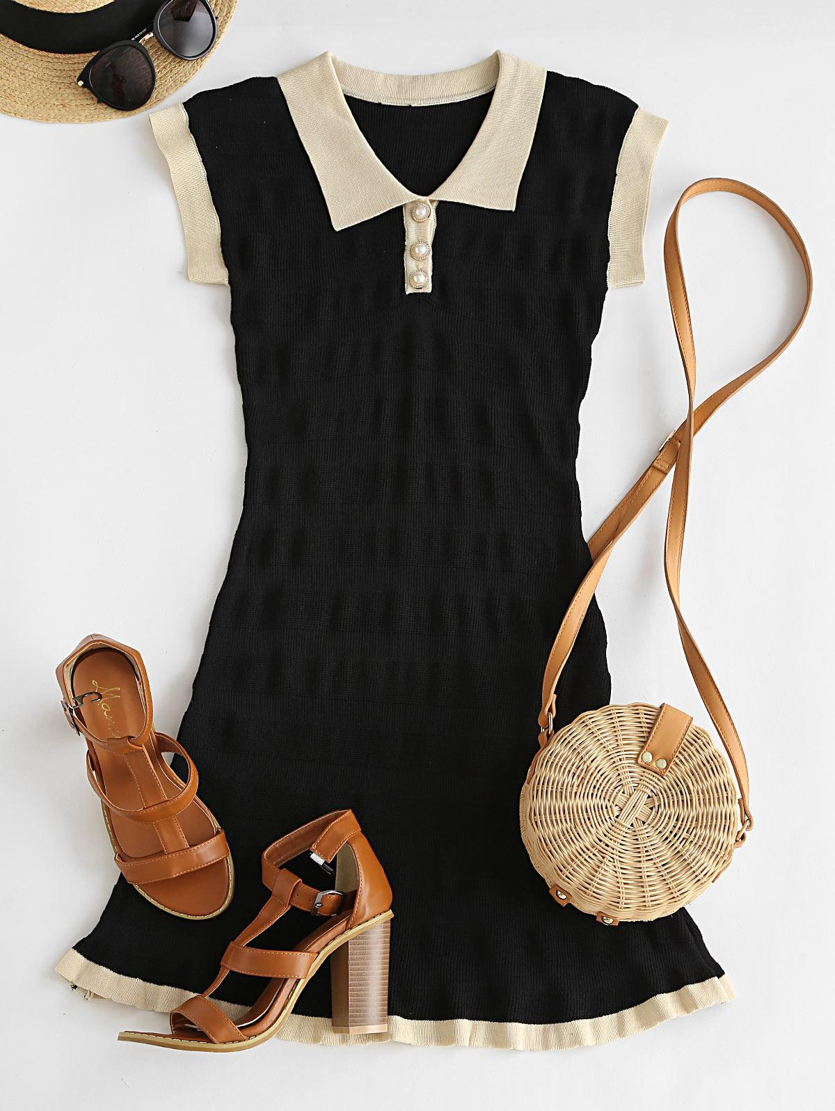 Colorblock Knitted Henley Dress