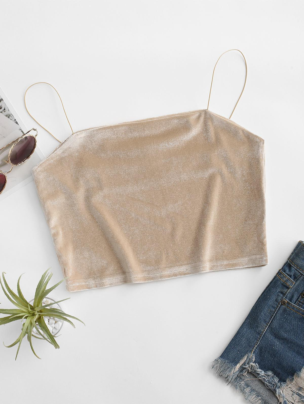 Cropped Velvet Bungee Cami Top