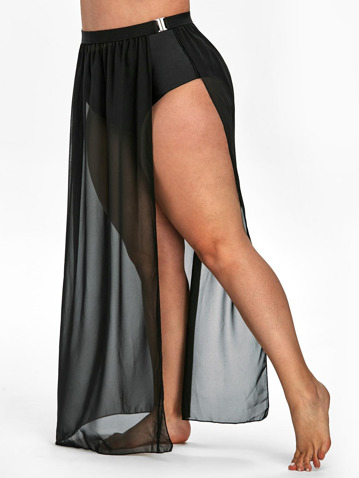 Plus Size Slit Buckle Cover Up Skirt