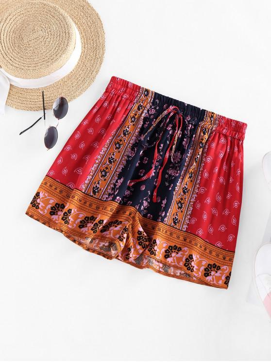hot ZAFUL Paisley Printed Drawstring Shorts - DEEP BLUE XL