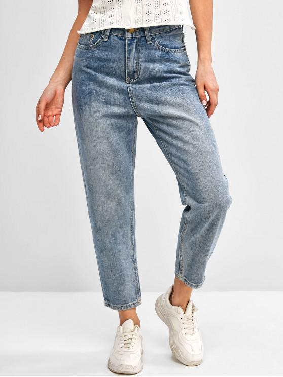 fashion Basic Mom Jeans - BLUE XL