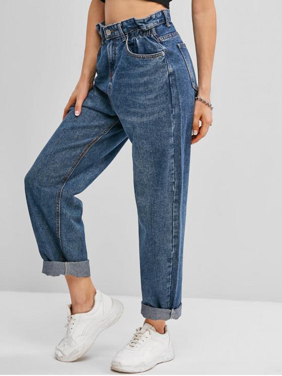 Calças Jeans Lavadas Água Sanitária Remendo De Bolsos - Azul XL