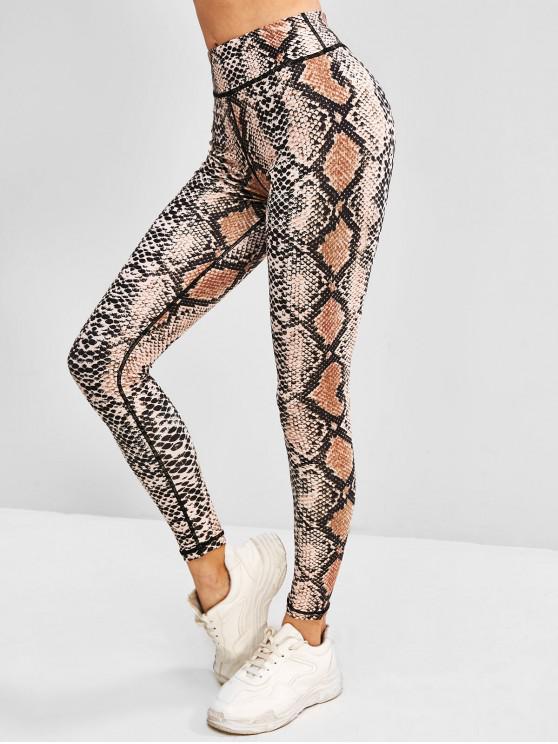 buy Snakeskin High Waisted Yoga Gym Leggings - LIGHT COFFEE S