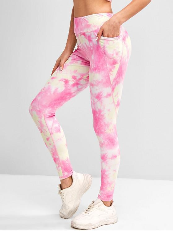 hot Tie Dye Topstitch Pocket Gym Yoga Leggings - YELLOW L