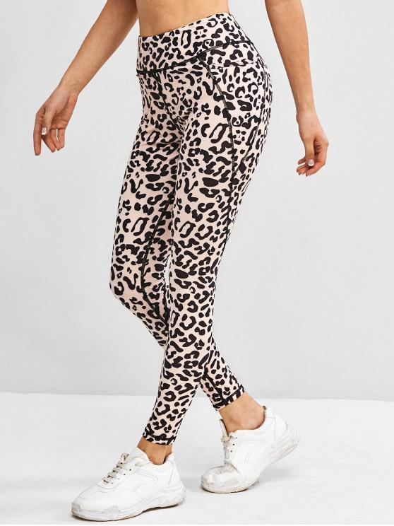 fashion Leopard Topstitch Pocket High Rise Gym Leggings - BLACK S