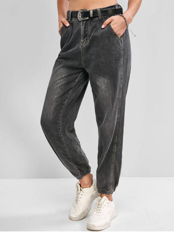 fashion Zip Fly High Waisted Pocket Jogger Jeans - GRAY L