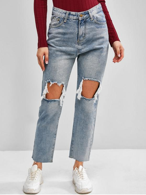 outfit Distressed Light Wash Frayed Hem Stovepipe Grunge Jeans - BLUE M
