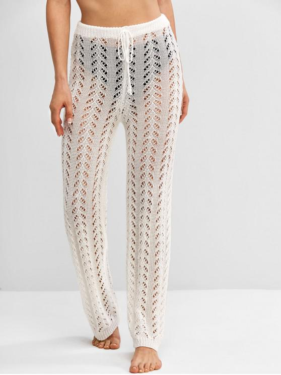Crochet Knit Drawstring Beach Pants - أبيض S